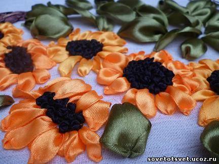 вышиваем лентами листья подсолнухов
